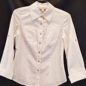 St. John Sport Vintage White Shirt Gold Buttons
